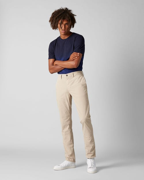 7 For All Mankind - Extra Slim Chino Ultra Light Weight Colors Dove Beige With Piping