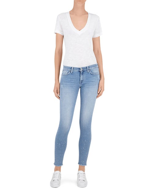 THE SKINNY CROP SLIM ILLUSION BREEZE GLITTER FRAYED HEM