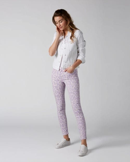7 For All Mankind - The Skinny Crop Leopard Print Wisteria Leopard