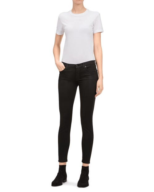 THE SKINNY CROP COATED SATEEN BLACK