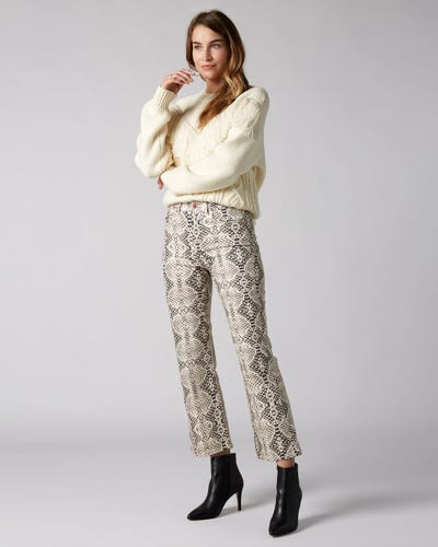 7 For All Mankind - High Waist Vintage Cropped Boot Snakeskin