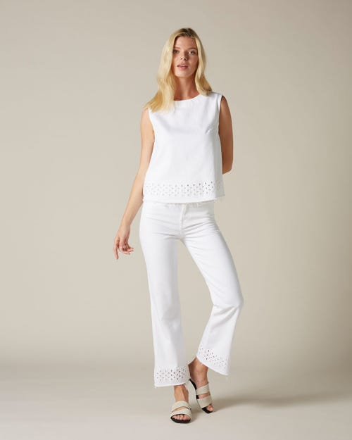 HIGH WAIST VINTAGE CROPPED BOOT PURE WHITE SANGALLO
