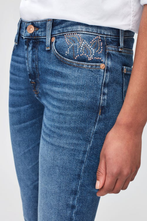 THE SKINNY LUXE VINTAGE REJOICE WITH STUDDED FLOWERS BACK/FRONT