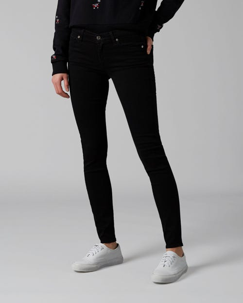 THE SKINNY B(AIR) RINSED BLACK WITH EMBELLISHED LABEL