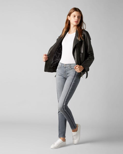 7 For All Mankind - The Skinny Slim Illusion Wilshire With Outseam Unrolled