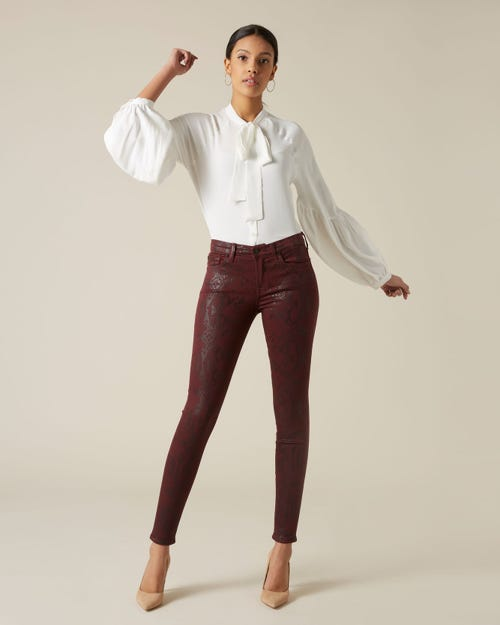7 For All Mankind - The Skinny Coated Snakeskin Ruby