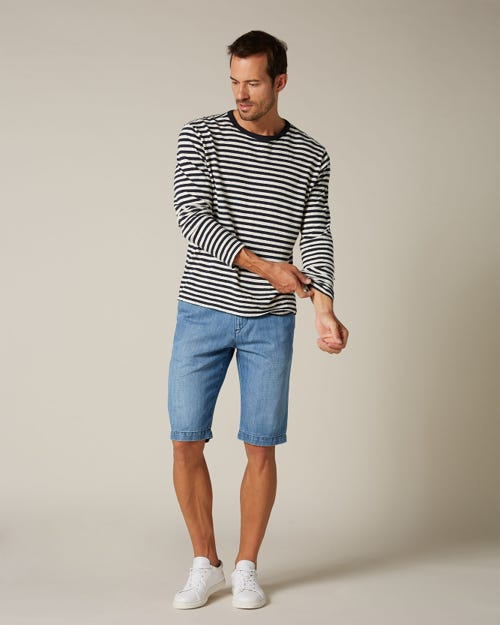 SLIMMY CHINO SHORTS COTTON LINEN LIGHT BLUE