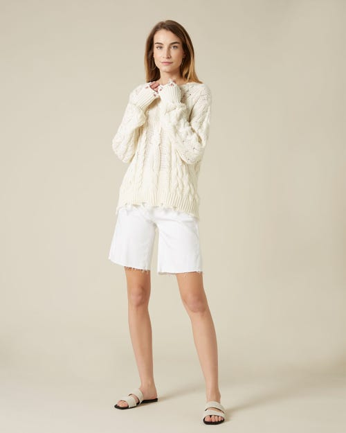 EASY SHORTS PURE WHITE WITH RAW CUT