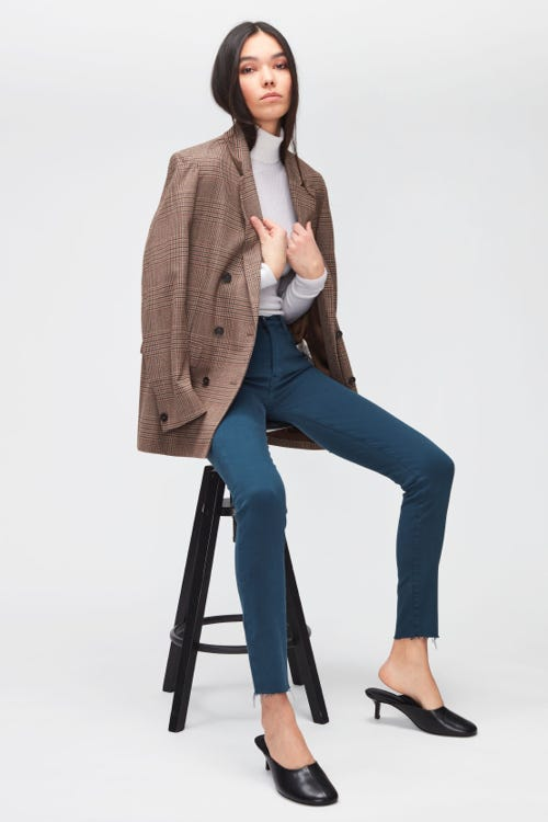 HW SKINNY COLORED SLIM ILLUSION WITH RAW CUT PEACOCK