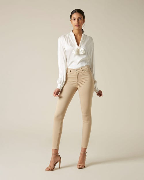 7 For All Mankind - High Waist Skinny Crop Sateen Beige