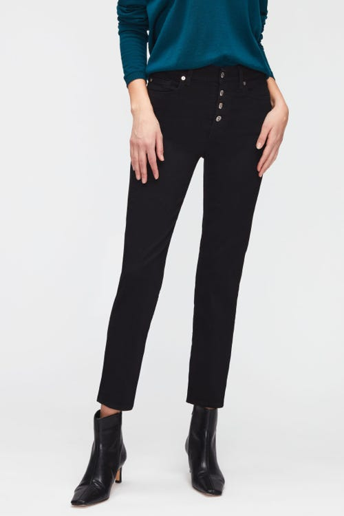 THE STRAIGHT CROP B(AIR) RINSED BLACK  WITH EXPOSED BUTTONS