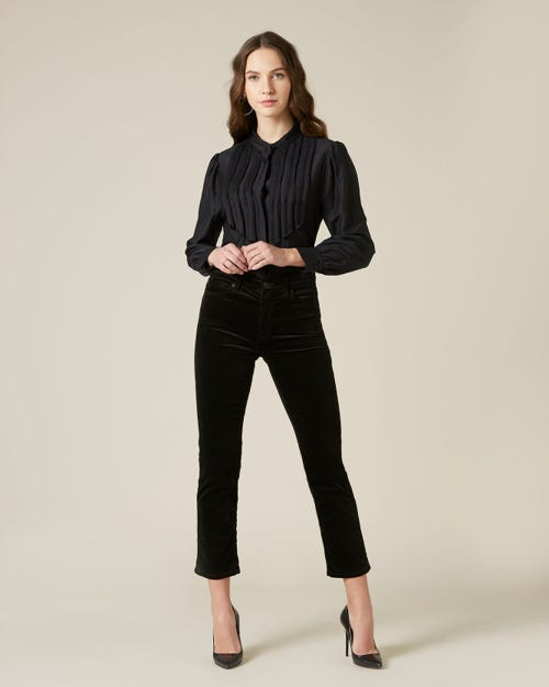 THE STRAIGHT CROP VELVET BLACK